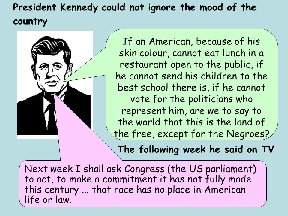President Kennedy could not ignore the mood of the