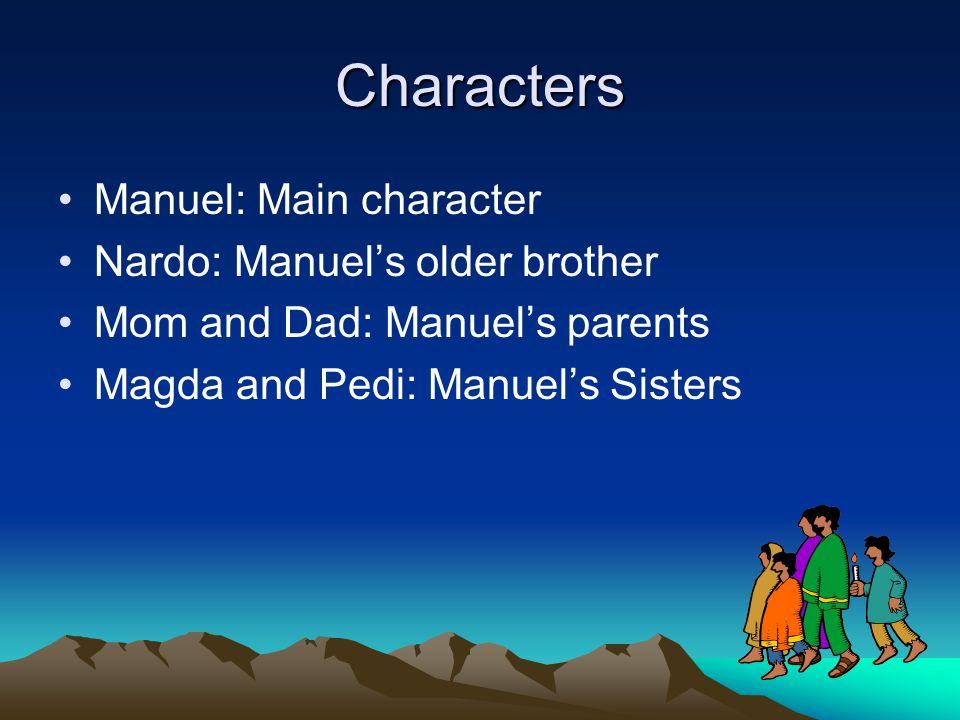 Characters Manuel: Main character Nardo: Manuel's older brother