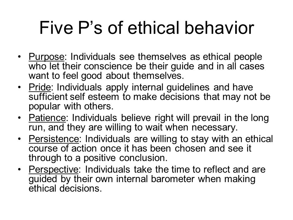 Five P's of ethical behavior