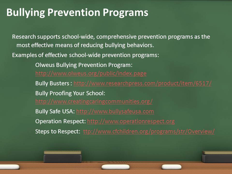 bullying and effective bullying prevention Teachers' perceived barriers to effective bullying intervention megan l marshall georgia state university  bullying prevention and intervention project.