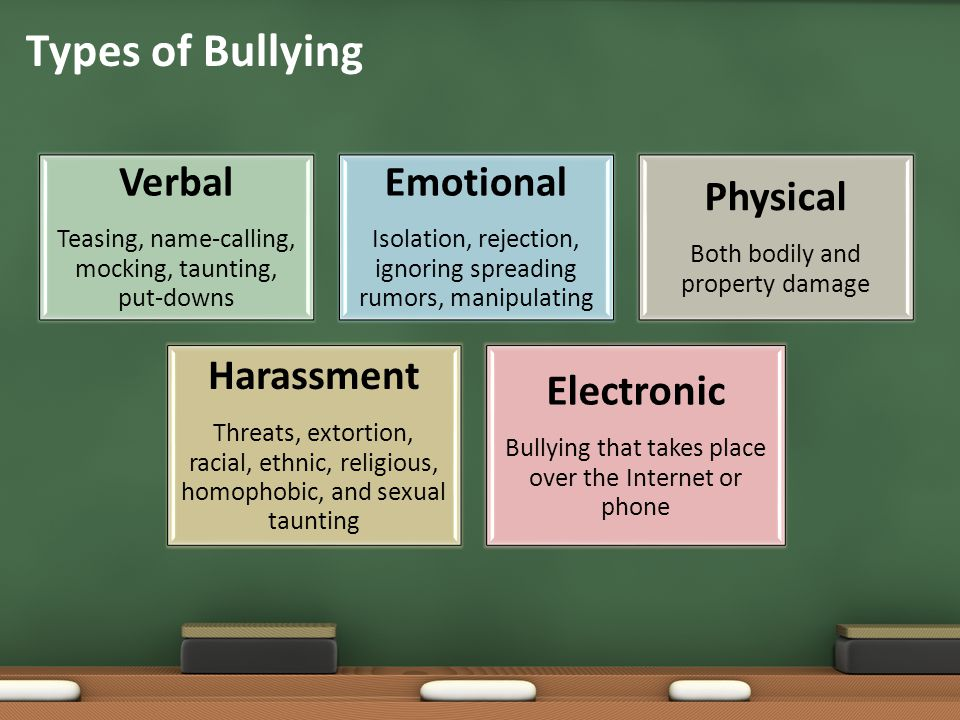 Types of Bullying Electronic Harassment Emotional Verbal Physical