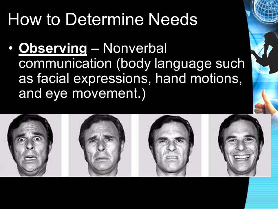 How to Determine Needs Observing – Nonverbal communication (body language such as facial expressions, hand motions, and eye movement.)