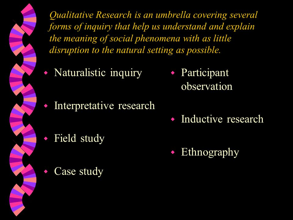 Interpretative research Field study Case study Participant observation