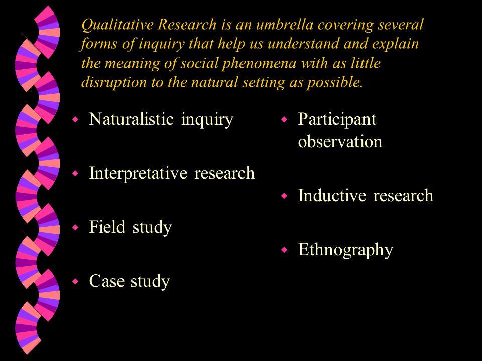 Interpretative research Field study Case study Participant observation