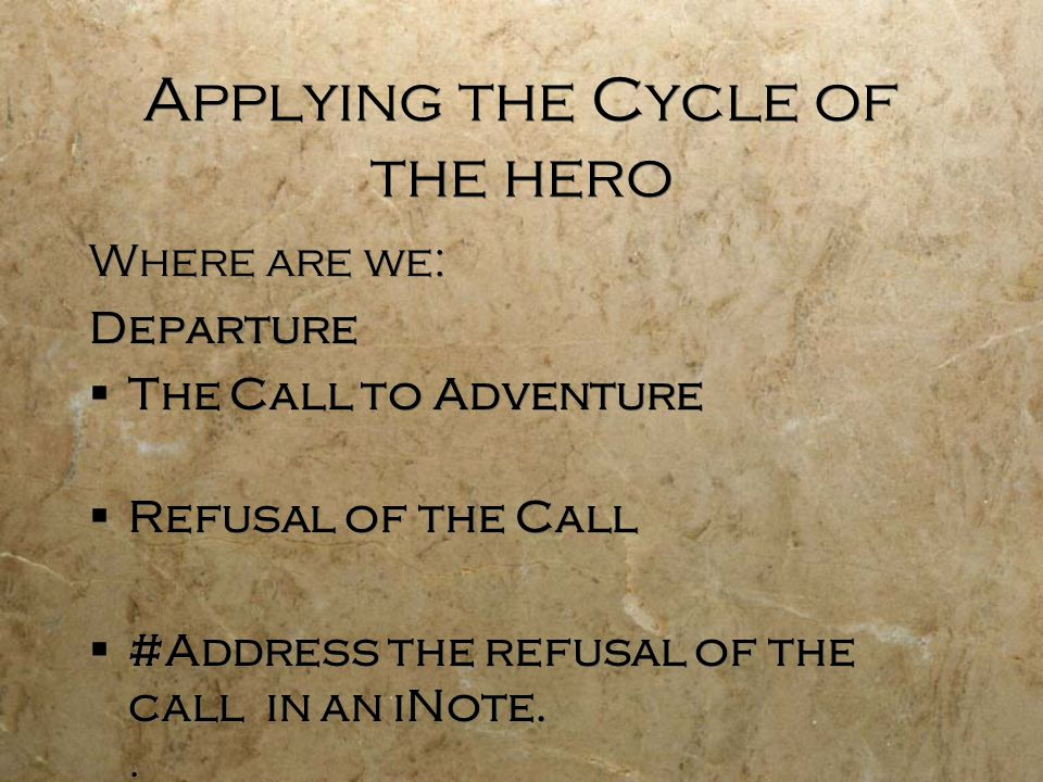 Applying the Cycle of the hero