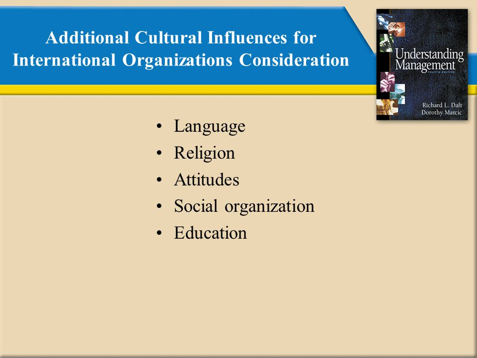 Additional Cultural Influences for International Organizations Consideration