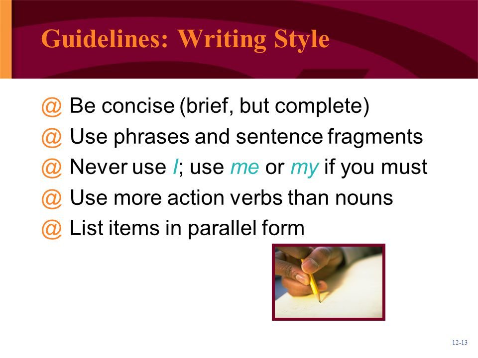 Guidelines: Writing Style