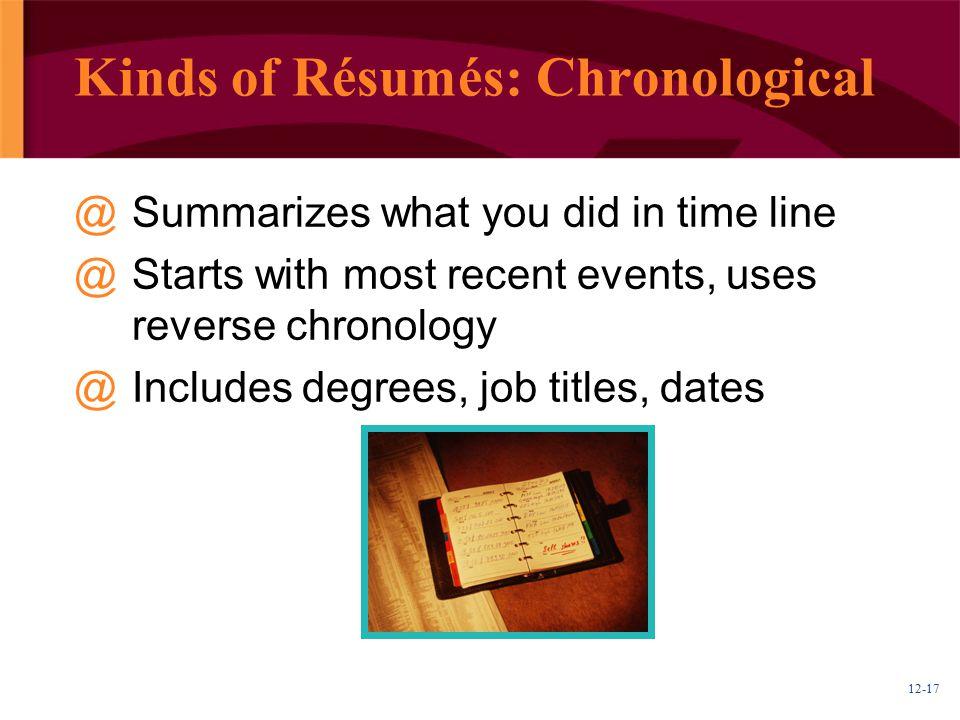 Kinds of Résumés: Chronological