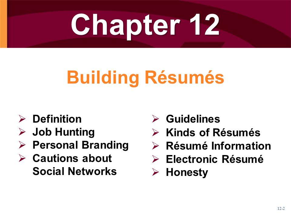 Chapter 12 Building Résumés Definition Job Hunting Personal Branding