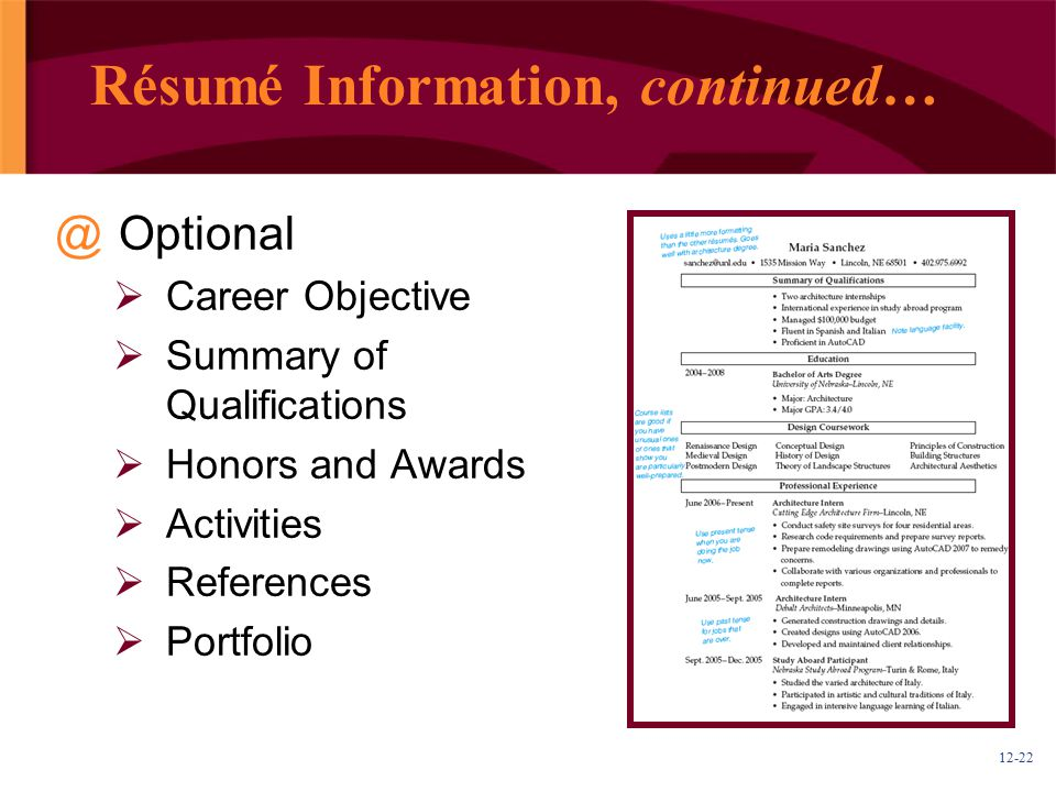Résumé Information, continued…