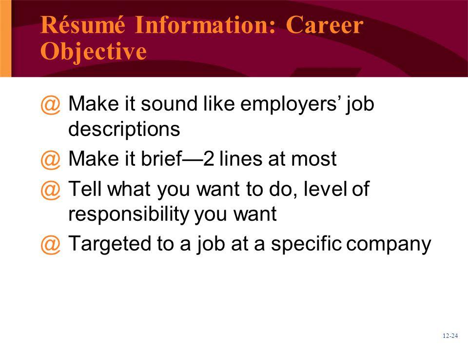 Résumé Information: Career Objective