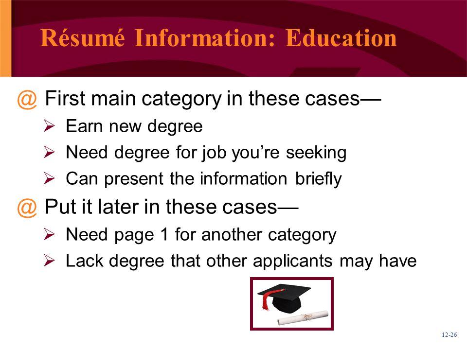 Résumé Information: Education