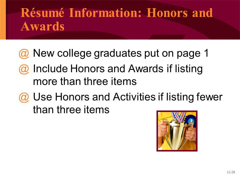 Résumé Information: Honors and Awards