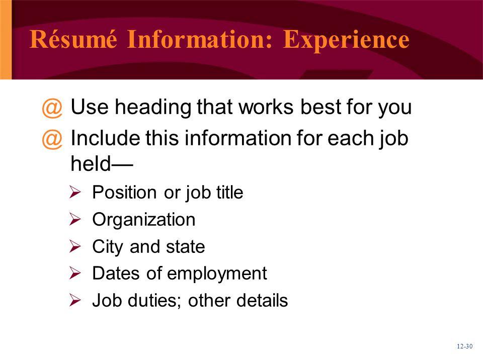 Résumé Information: Experience
