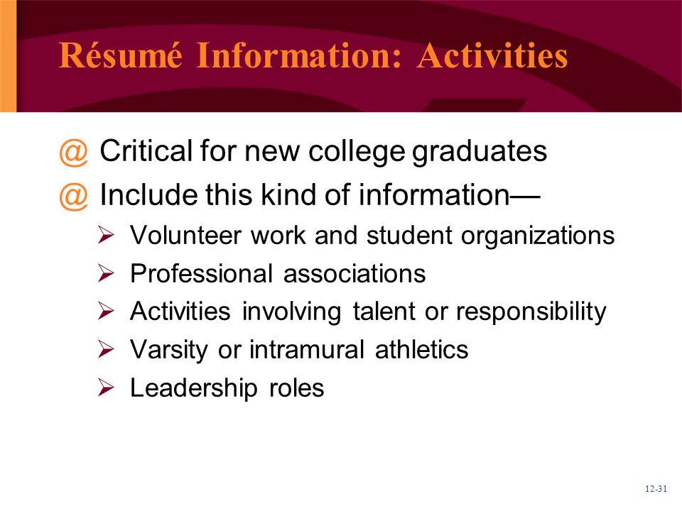 Résumé Information: Activities