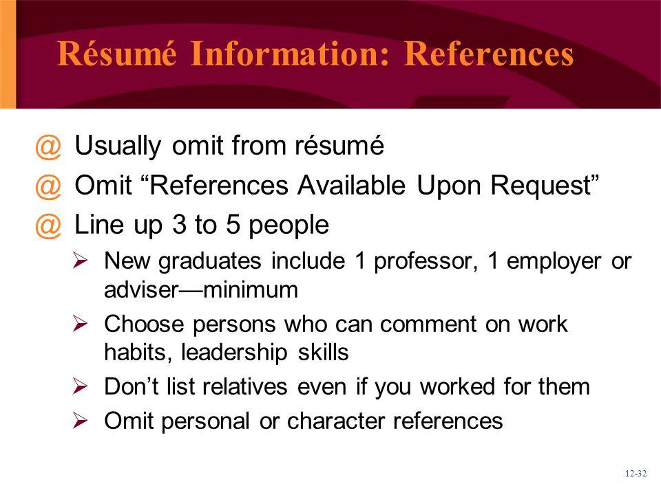 Résumé Information: References