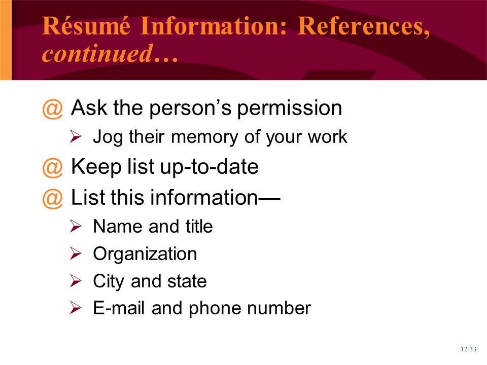 Résumé Information: References, continued…