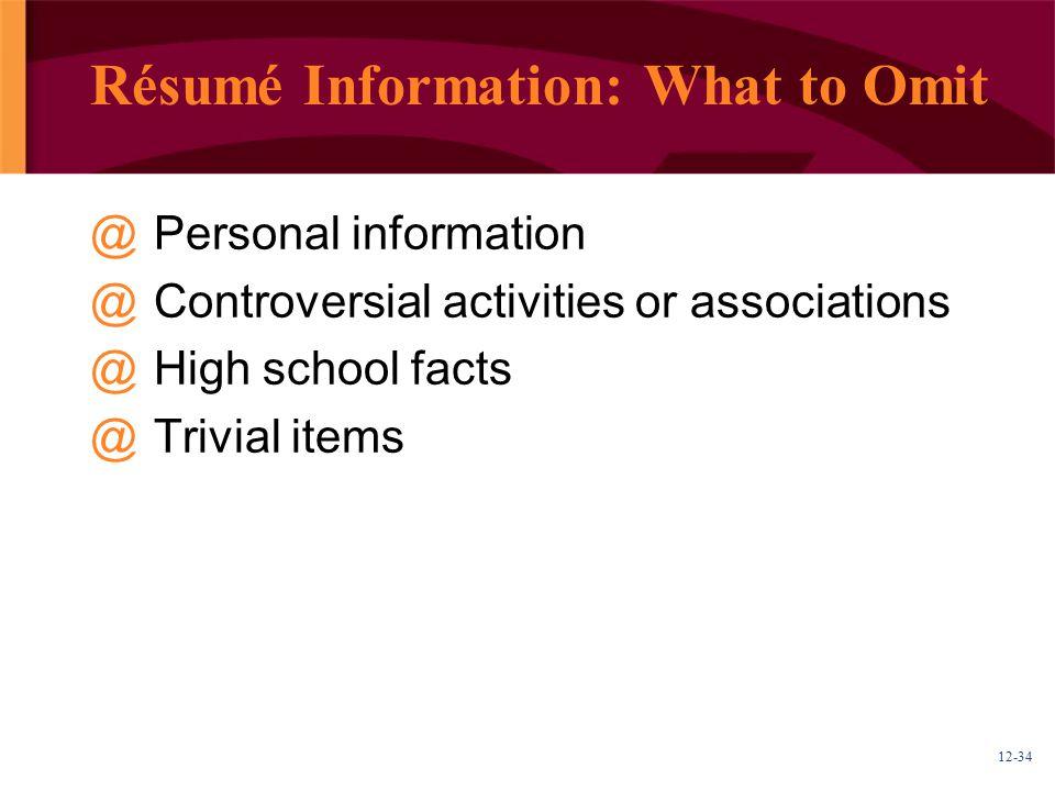 Résumé Information: What to Omit