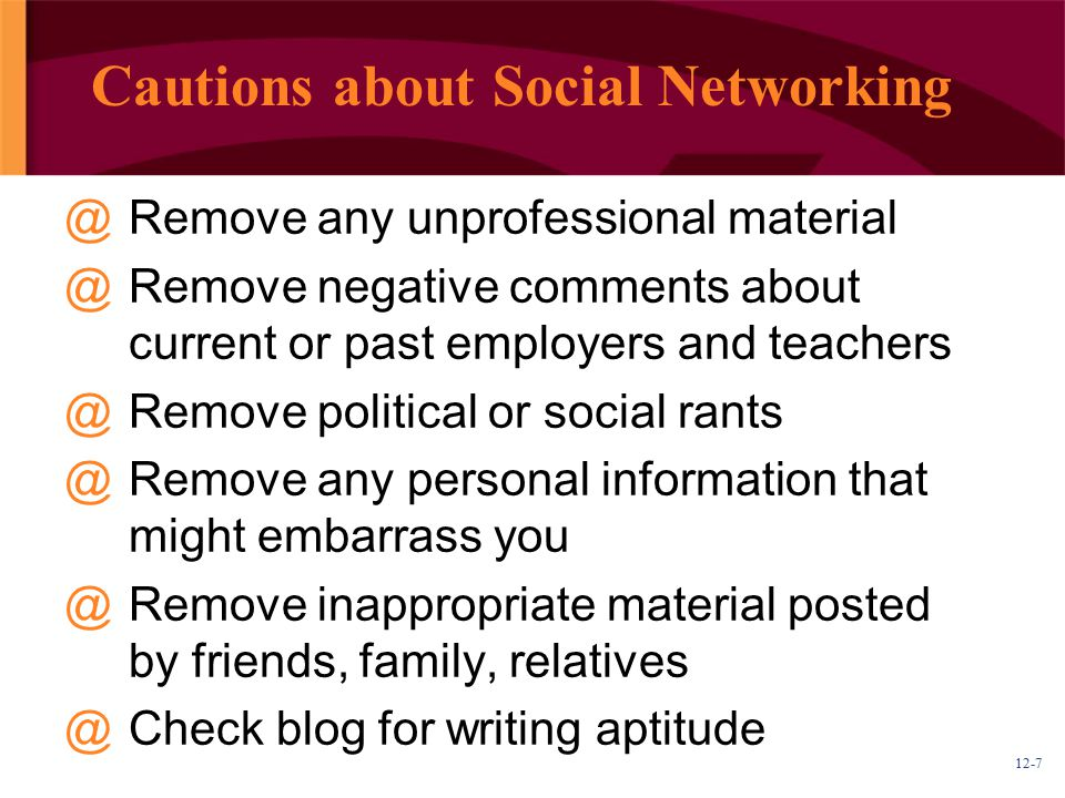 Cautions about Social Networking
