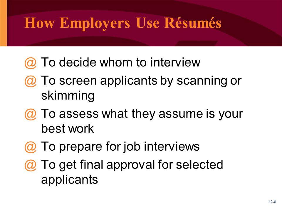 How Employers Use Résumés