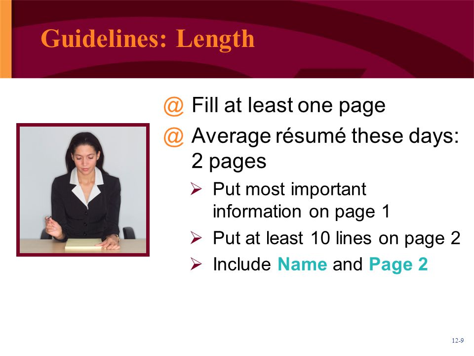 Guidelines: Length Fill at least one page