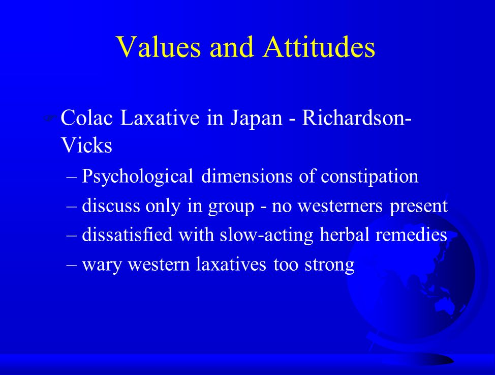 Values and Attitudes Colac Laxative in Japan - Richardson-Vicks