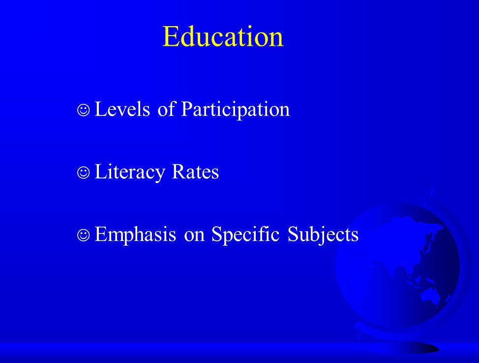 Education Levels of Participation Literacy Rates