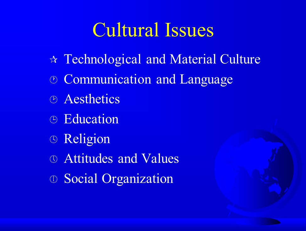 Cultural Issues Technological and Material Culture