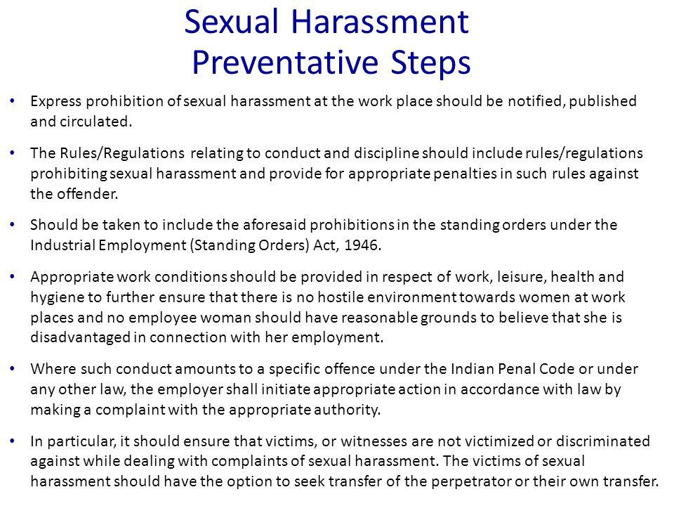 Sexual Harassment Preventative Steps