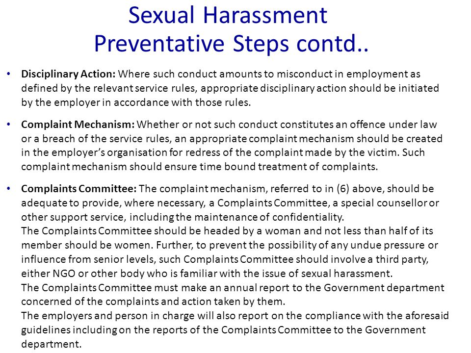 Sexual Harassment Preventative Steps contd..