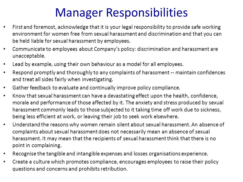 Manager Responsibilities