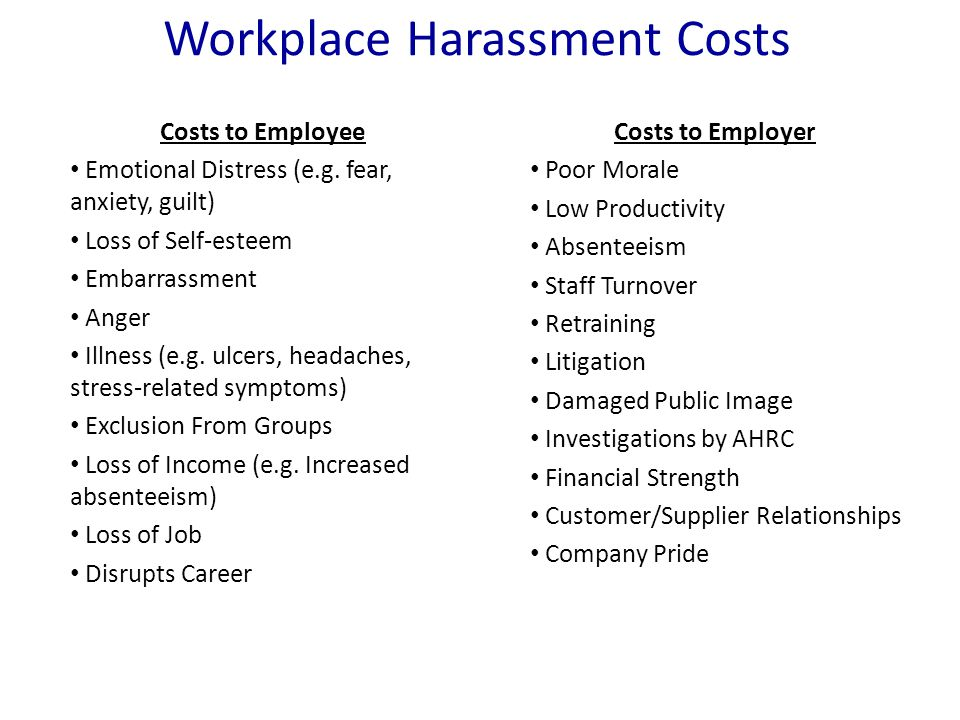 Workplace Harassment Costs