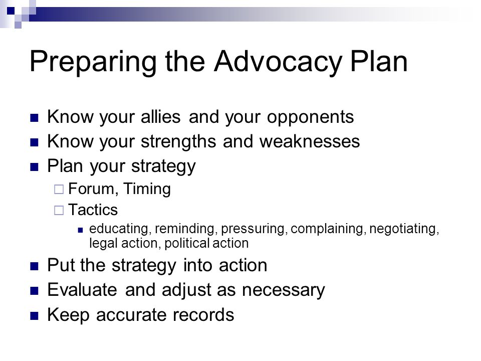 Preparing the Advocacy Plan
