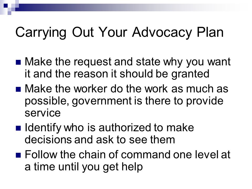Carrying Out Your Advocacy Plan