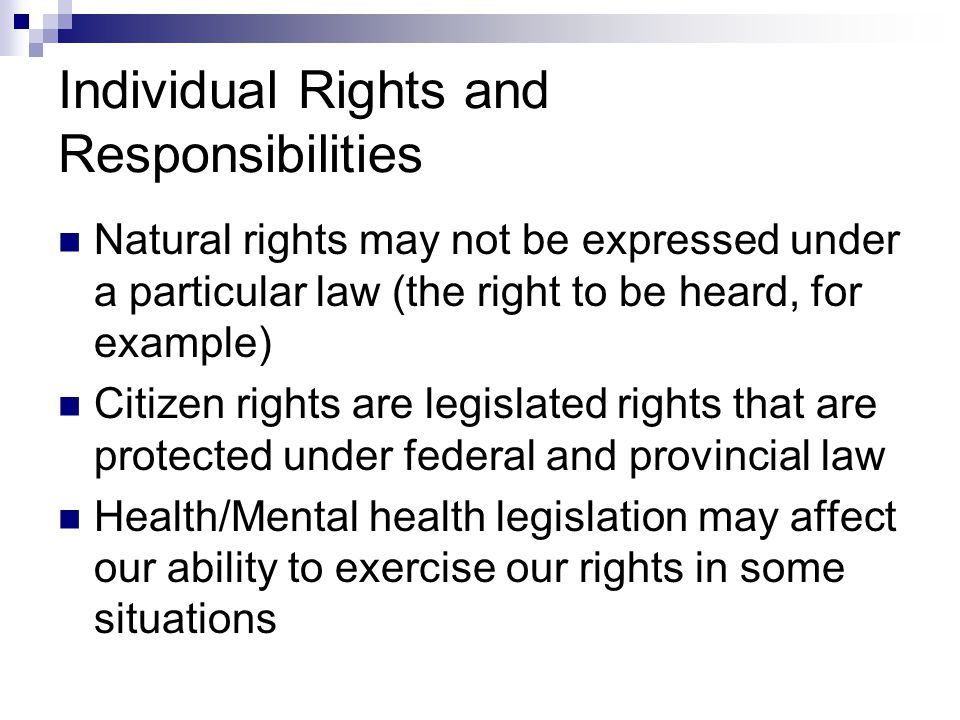 Individual Rights and Responsibilities