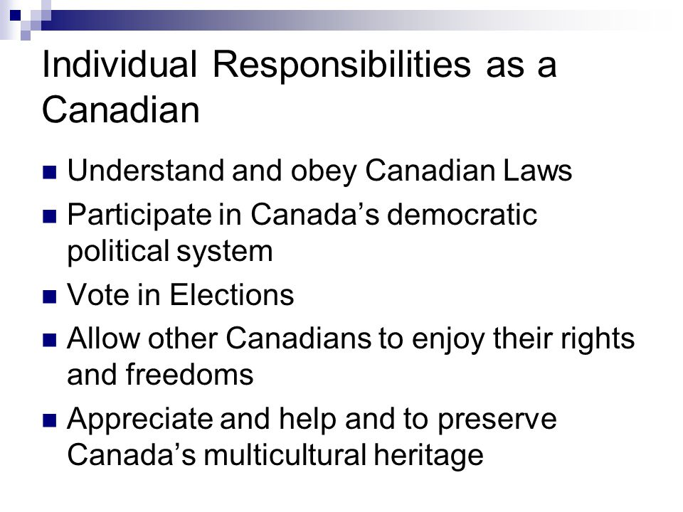 Individual Responsibilities as a Canadian