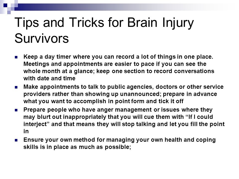 Tips and Tricks for Brain Injury Survivors