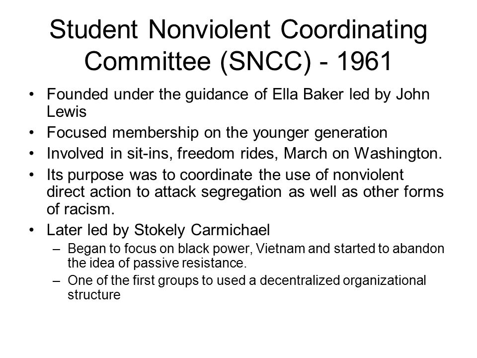 Student Nonviolent Coordinating Committee (SNCC) - 1961