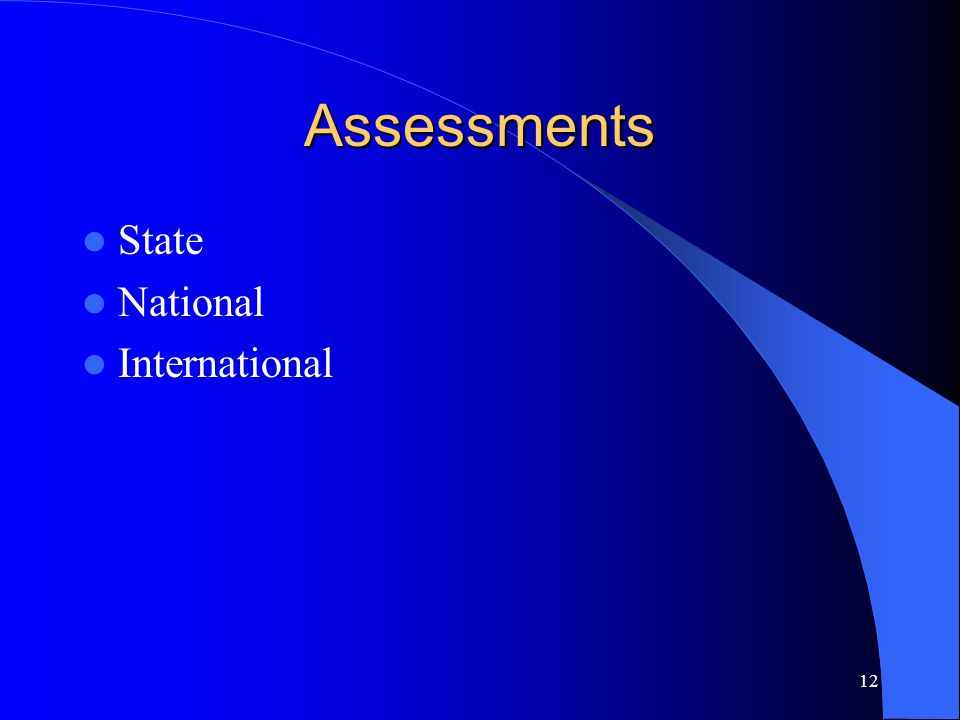 Assessments State National International