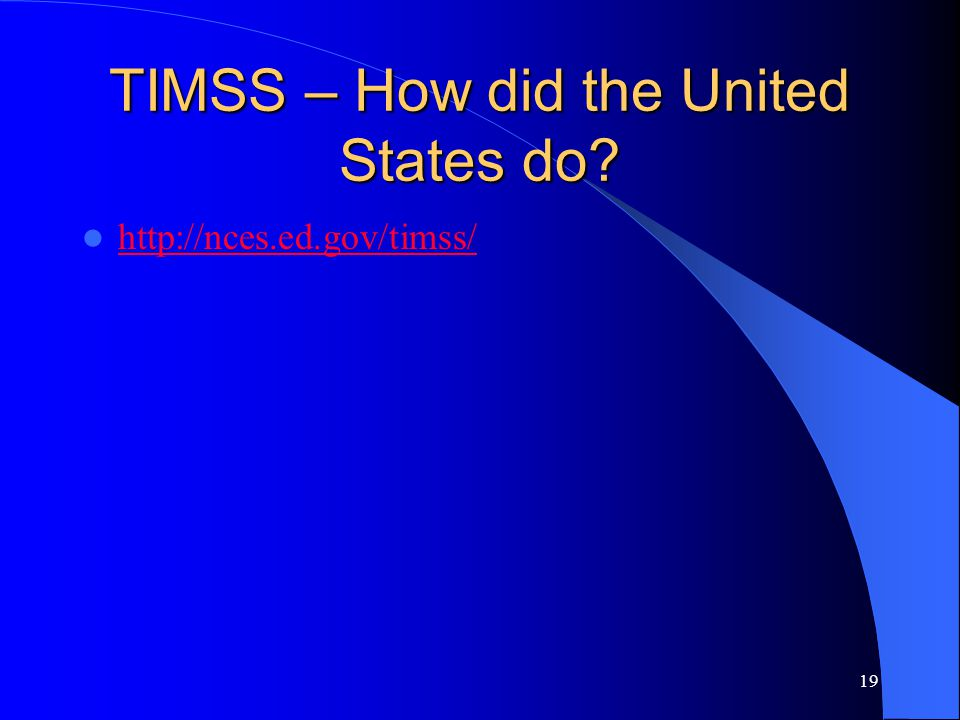 TIMSS – How did the United States do