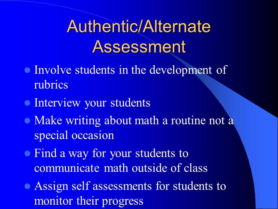 Authentic/Alternate Assessment