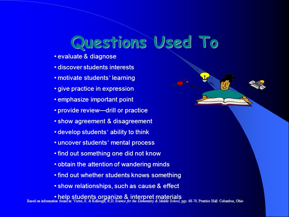 Questions Used To evaluate & diagnose discover students interests