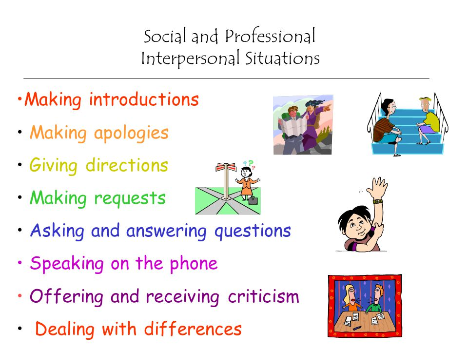 Social and Professional Interpersonal Situations