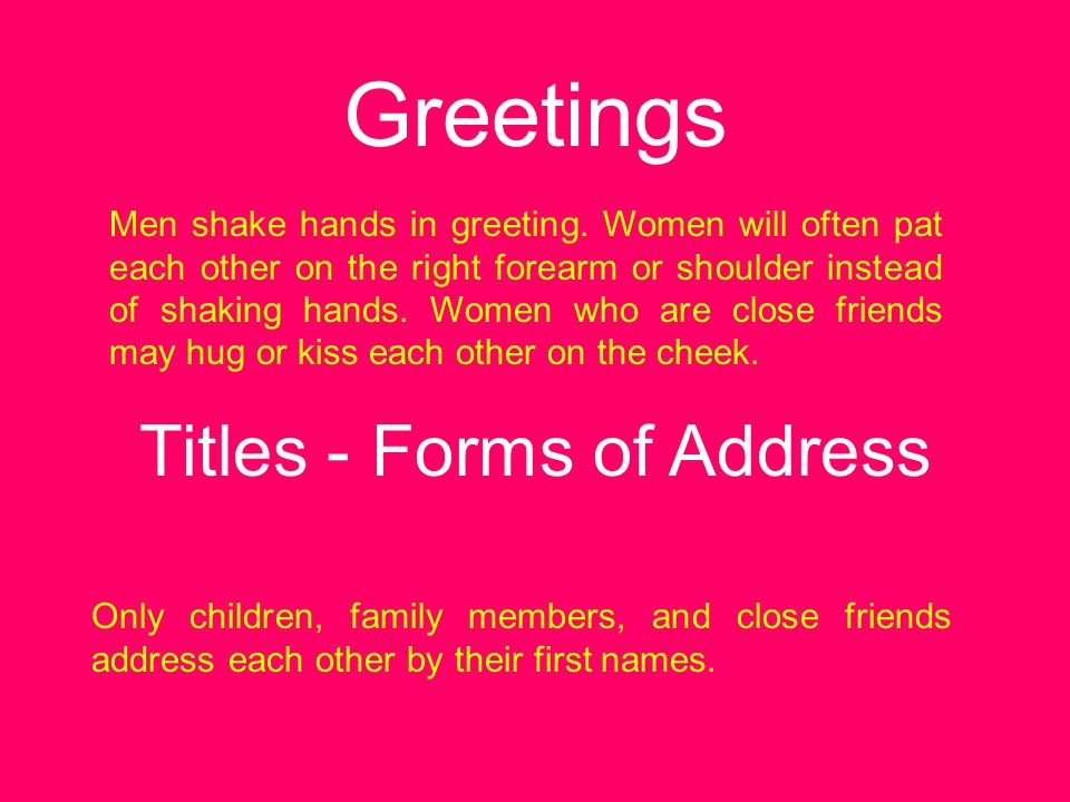 Titles - Forms of Address
