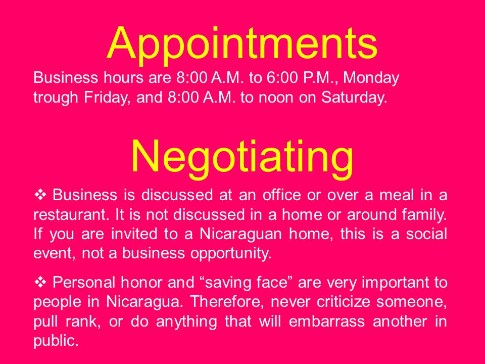 Appointments Negotiating
