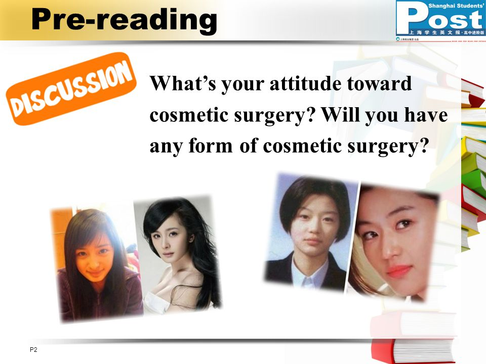 Pre-reading What's your attitude toward cosmetic surgery.