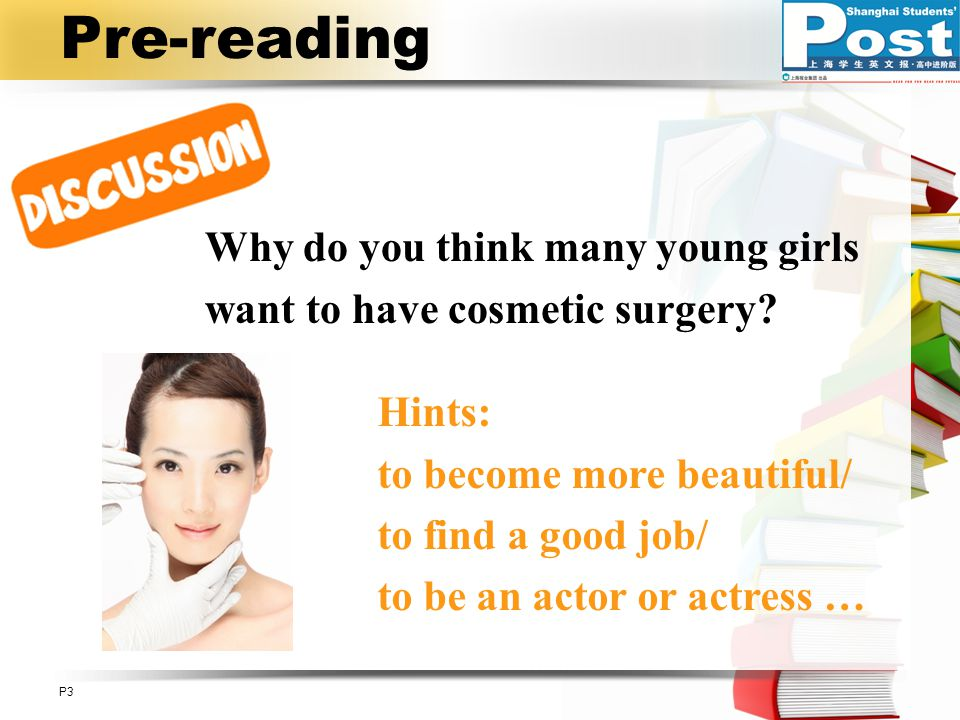 Pre-reading Why do you think many young girls want to have cosmetic surgery Hints: to become more beautiful/