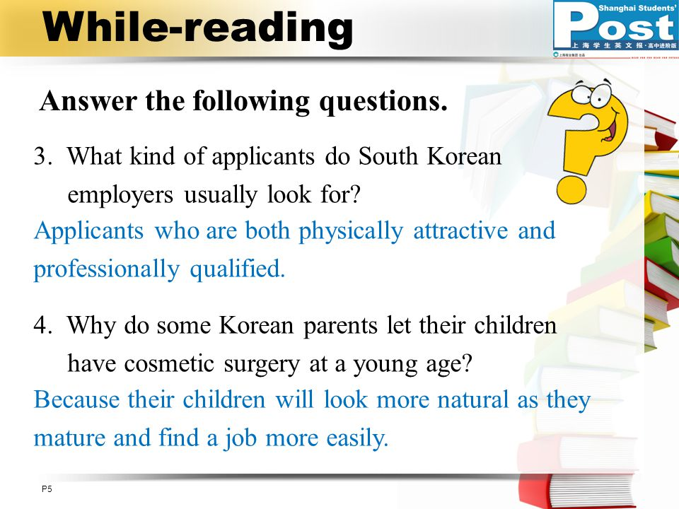 While-reading Answer the following questions.