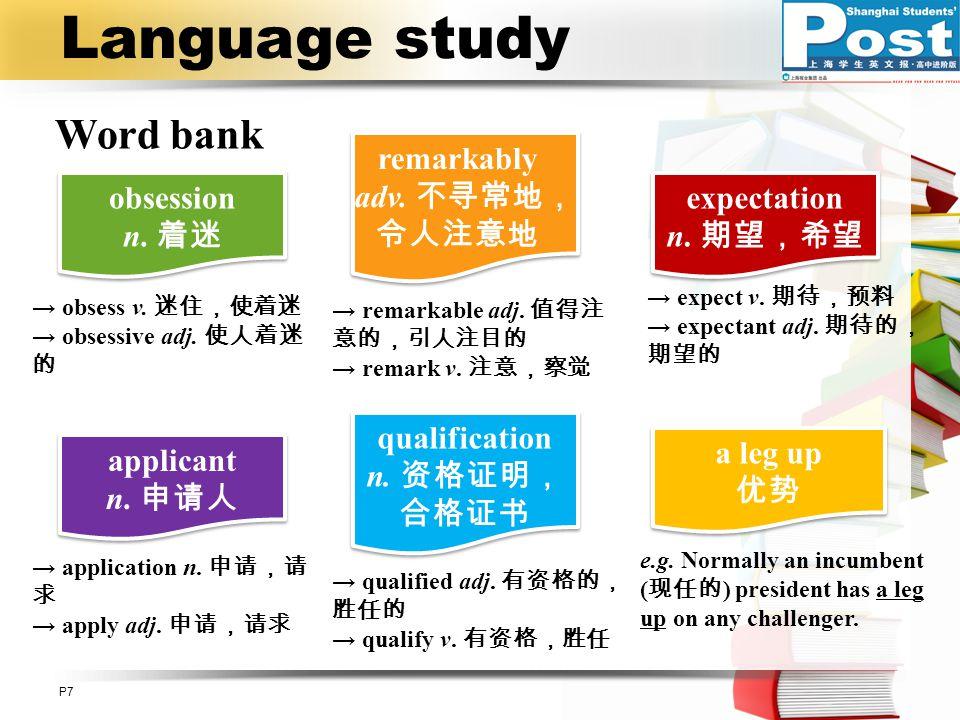 Language study Word bank remarkably adv. 不寻常地,令人注意地 obsession n. 着迷