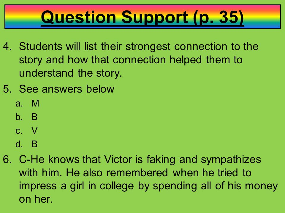 Question Support (p. 35) Students will list their strongest connection to the story and how that connection helped them to understand the story.